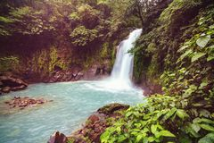 Waterfall in Costa Rica. Majestic waterfall in the rainforest jungle of Costa Rica. Tropical hike stock images