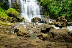 Waterfall - countryside landscape in a village in Cianjur, Java, Indonesia. Waterfall, countryside landscape in a village in Cianjur, Java, Indonesia Royalty Free Stock Photo