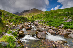 Waterfall in Countryside. Water cascade in wild hills of Ring Of Kerry, Ireland, Europe Royalty Free Stock Images