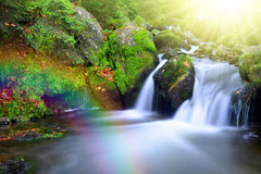 Waterfall on creek with rainbow. Royalty Free Stock Photo