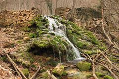 The waterfall on the Crimea peninsula on the river Sary-Uzen Royalty Free Stock Image