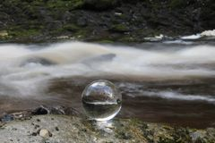 Waterfall in Crystal Ball Stock Photos