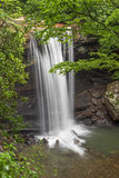Waterfall on Cucumber Run. Flowing toward the nearby Youghiogheny River, the waters of Cucumber Run plunge over a tall cliff in Pennsylvania forest of Ohiopyle royalty free stock photos
