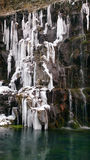 The waterfall in the Dashbashi gorge in winter, Georgia Stock Photo