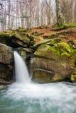 Waterfall Davir on the Turichka river. In the forest near Lumshory village of TransCarpathia, Ukraine. beautiful autumnal scenery royalty free stock photo