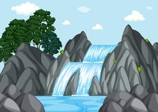Waterfall at day time. Illustration Stock Photos