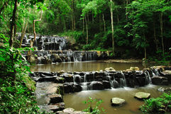 Waterfall in deep forest. Landscape of waterfall in deep forest royalty free stock photo