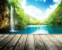 Waterfall in deep forest of croatia stock photography