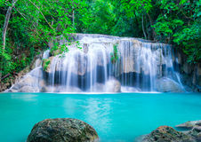 Waterfall in deep forest of Erawan National Park Royalty Free Stock Photo