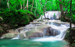 Waterfall in deep the forest at Erawan National Park Stock Images