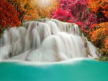 Waterfall in Deep forest at Erawan waterfall National Park Royalty Free Stock Image
