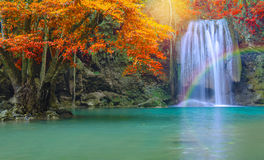 Waterfall in Deep forest at Erawan waterfall National Park. Stock Images