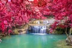 Waterfall in Deep forest at Erawan waterfall National Park Stock Photos