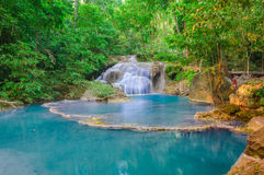 Waterfall in Deep forest at Erawan waterfall National Park, Stock Photo