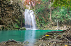 Waterfall in Deep forest at Erawan waterfall National Park, Stock Images