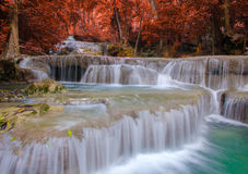 Waterfall in Deep forest at Erawan waterfall National Park Royalty Free Stock Photography