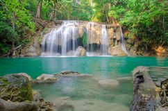 Waterfall in Deep forest at Erawan waterfall National Park Royalty Free Stock Photos