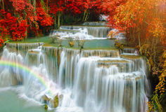 Waterfall in Deep forest at Erawan waterfall National Park. Royalty Free Stock Photography