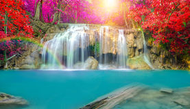 Waterfall in Deep forest at Erawan waterfall National Park Stock Image