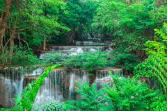 Waterfall in the deep forest at Huay Mae Kamin waterfall National Park, Thailand royalty free stock photo