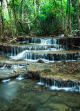 Waterfall in Deep forest at Huay Mae Khamin, Kanchanaburi Provin Stock Photo