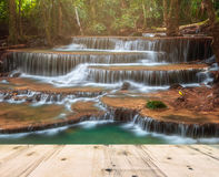 Waterfall in Deep Forest of Huay Mae Khamin Waterfall and Wood Pier Royalty Free Stock Photography