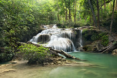 Waterfall in  deep forest on mountain Stock Image