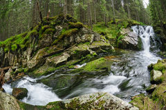 Waterfall in deep forest at mountains Royalty Free Stock Images