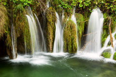Waterfall in deep forest in Plitvice national park Royalty Free Stock Photos