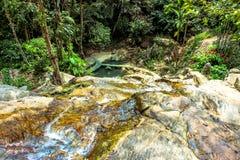 Waterfall in deep green jungle. Koh Samui Stock Photo