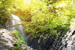 Waterfall in deep moss forest, clean adn fresh in Carpathians. Ukraine stock photo