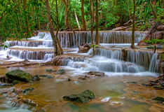 Waterfall in deep rain forest jungle Stock Photos