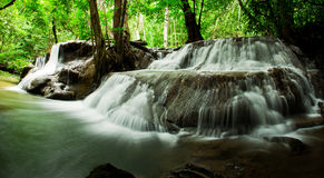 Waterfall in deep rain forest jungle. (Huay Mae Kamin) Stock Photos