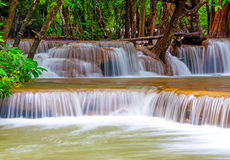 Waterfall in deep rain forest jungle (Huay Mae Kamin Waterfall i Stock Image