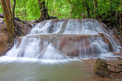 Waterfall in deep rain forest jungle (Huay Mae Kamin Waterfall Royalty Free Stock Image