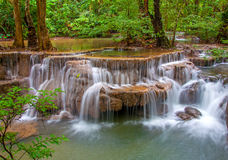 Waterfall in deep rain forest jungle (Huay Mae Kamin Waterfall Stock Photos