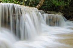 Waterfall in deep rain forest jungle ,Huay Mae Kamin Waterfall Royalty Free Stock Image