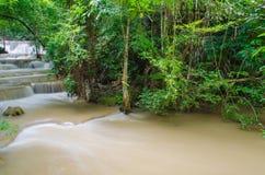 Waterfall in deep rain forest jungle ,Huay Mae Kamin Waterfall Stock Photo