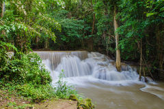 Waterfall in deep rain forest jungle , Huay Mae Kamin Waterfall Royalty Free Stock Photography