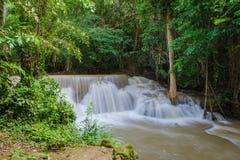 Waterfall in deep rain forest jungle , Huay Mae Kamin Waterfall Royalty Free Stock Photography