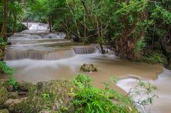 Waterfall in deep rain forest jungle Huay Mae Kamin Waterfall Royalty Free Stock Photo