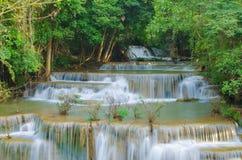 Waterfall in deep rain forest jungle (Huay Mae Kamin Waterfall) Royalty Free Stock Photography