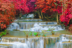 Waterfall in deep rain forest jungle (Huay Mae Kamin Waterfall) Stock Photos