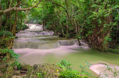 Waterfall in deep rain forest jungle (Huay Mae Kamin Waterfall Royalty Free Stock Photography
