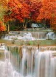 Waterfall in deep rain forest jungle (Huay Mae Kamin Waterfall) Royalty Free Stock Photos
