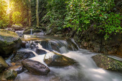 Waterfall in deep rain forest jungle (Krok E Dok Waterfall Sarab Royalty Free Stock Photo