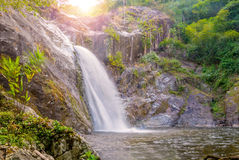 Waterfall in deep rain forest jungle. (Mae Re Wa Waterfalls Moko Stock Photos