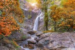 Waterfall in deep rain forest jungle (Mae Re Wa Waterfalls) Royalty Free Stock Photo