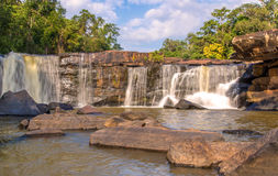 Waterfall in deep rain forest jungle. TadtonWaterfall Chaiyaphum Royalty Free Stock Photography