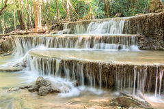 Waterfall in deep tropical Forest   in summer , Huay Mae Kamin Royalty Free Stock Photography